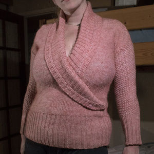 Super Soft Pink Faux Wrap Sweater w/ Collar